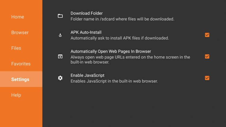 Within the Downloader Settings tab, you can customize your Download Folder, enable APK Auto-Install, Enable JavaScript, and more.