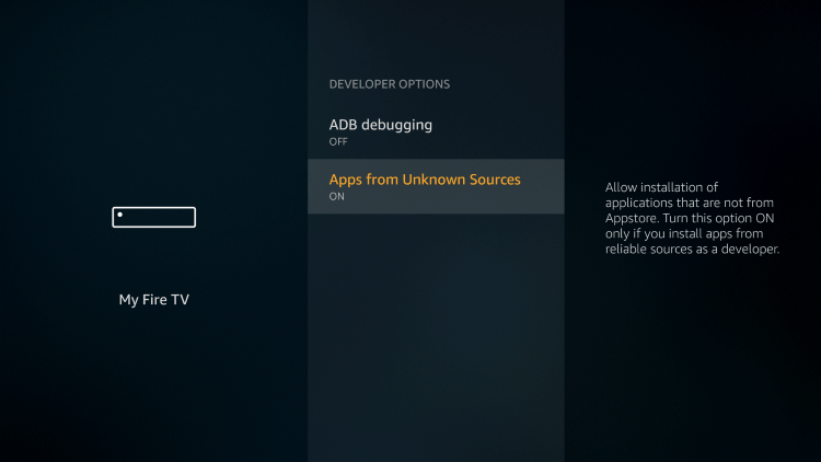 If using an older model of the Amazon Firestick like the Firestick 4K, Fire TVs, and previous generations, make sure you allow apps from unknown sources as shown in the image below.