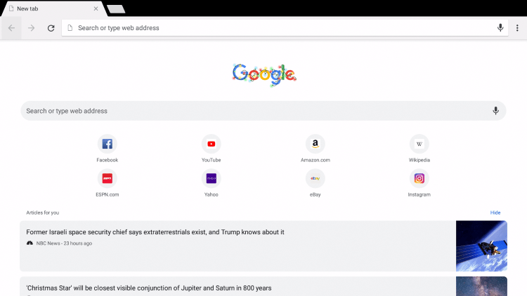 Launch Google Chrome and click the search bar.