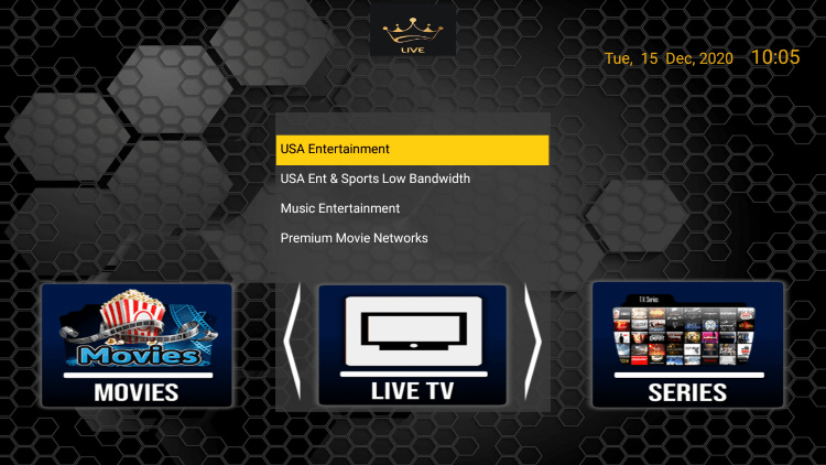 Choose any channel category from the dynasty iptv main menu.
