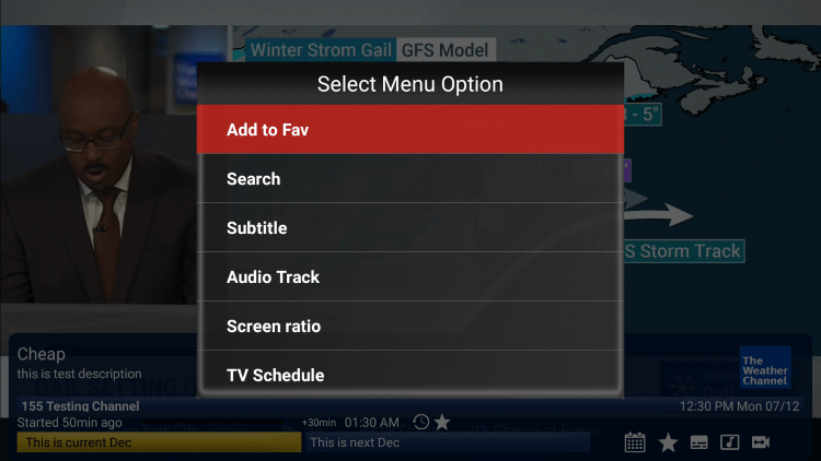 Click the Options button on your remote and choose to Add to Fav.