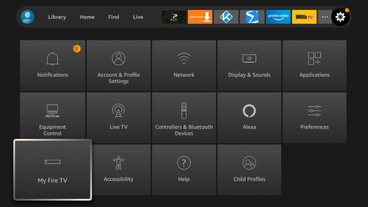 Return back to your home screen and hover over the Settings icon. Then scroll down and select My Fire TV.