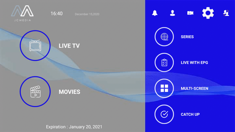 From the sportz tv home screen, click the Settings icon.