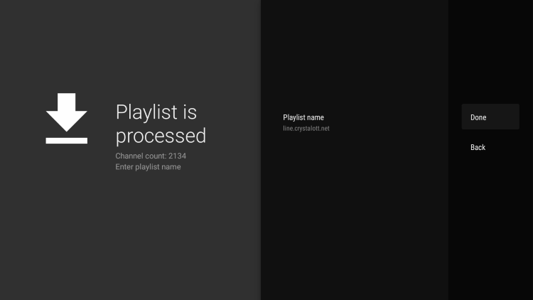 Enter the Playlist name and click Done.