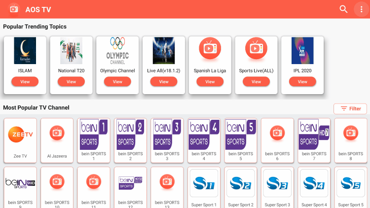 As mentioned previously, AOS TV offers hundreds of live channels that are 100% free to stream on any device.