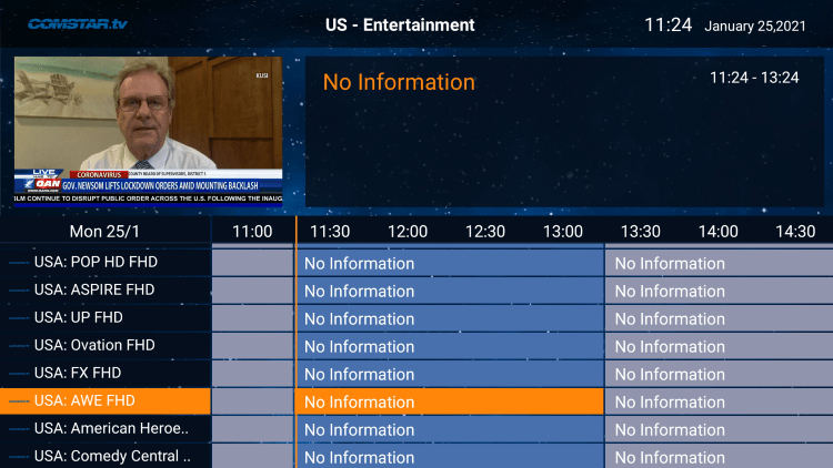 There is also a simple electronic program guide (EPG) for those that prefer this layout.