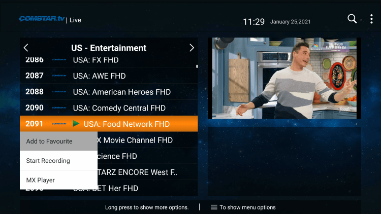 One of the best features within Comstar IPTV is the ability to add channels to Favorites.