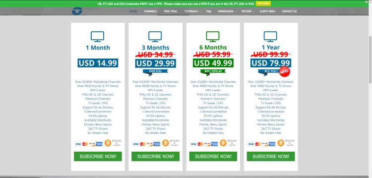 Comstar IPTV offers four different subscription plans.