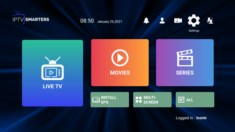 In the example below, we show how to integrate an external player within Iconic Streams IPTV.