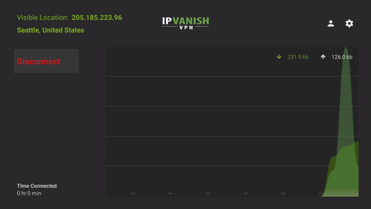 IPVanish is now connected