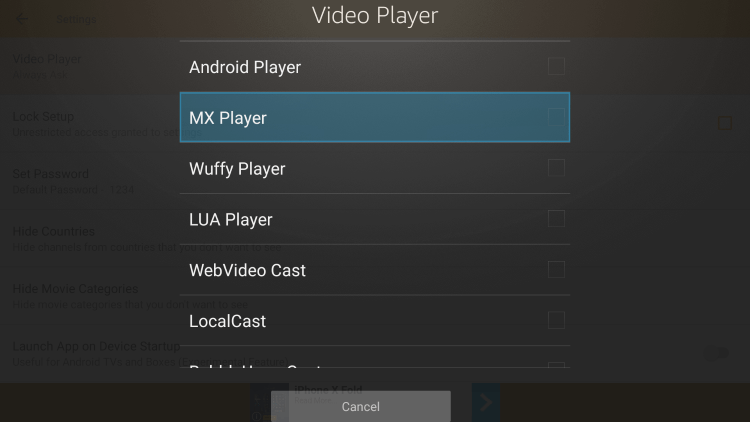 For this example, we used MX Player.