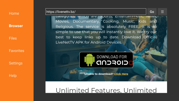 Scroll down and click Download live net tv for Android.