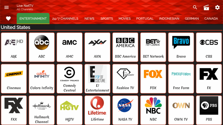 As mentioned previously, Live Net TV provides hundreds of live channels that are completely free to stream.