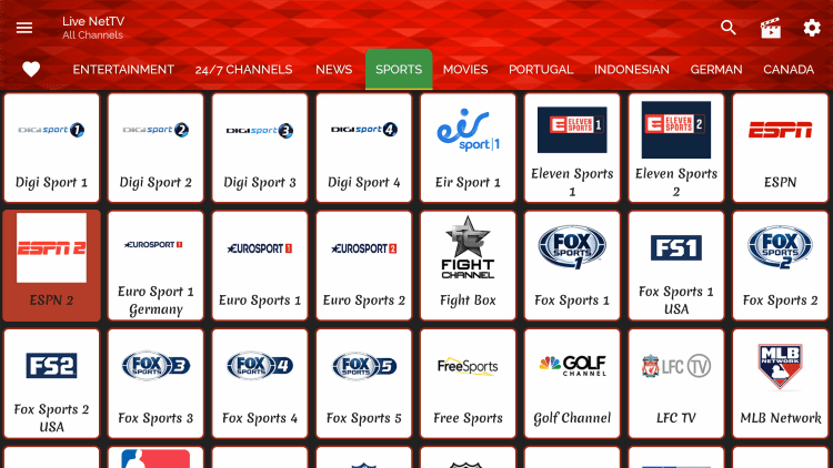 This app contains hundreds of live channels and VOD options in numerous categories.