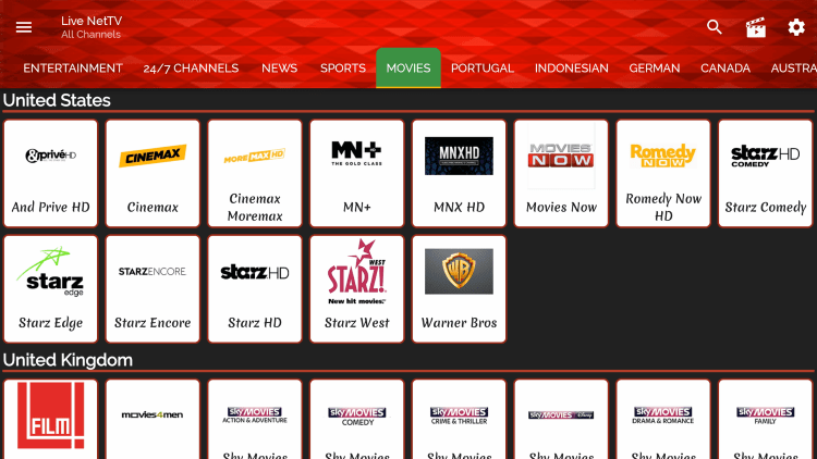 There are also VOD options for movies and tv shows within this free IPTV app.