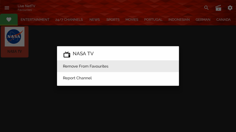 If you want to remove a channel from your Favorites, hover over the channel and hold down the OK button. Then choose Remove from favorites.
