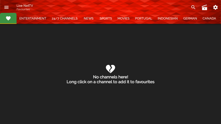That's it! You can now add/remove channels from Favorites within live net tv