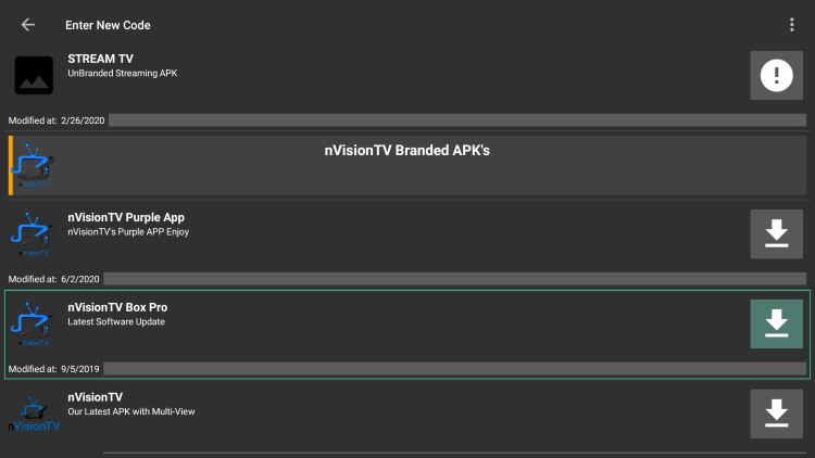 """Choose any APK you prefer. For this example, we used the """"nVision TV Box Pro"""" option for Firestick/Android. Click the Download icon."""