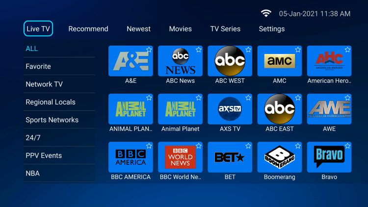 Select the Live TV category within the main menu.