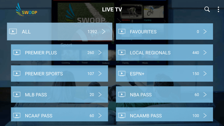 Swoop TV provides over 500 live channels starting at $19.99/month with their standard plan.