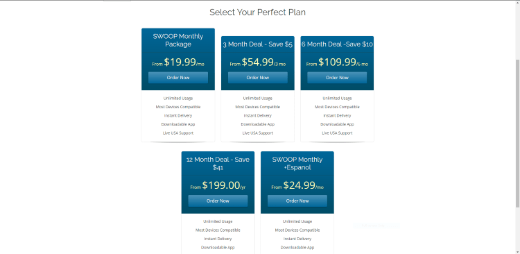 Swoop TV offers five different subscription plans
