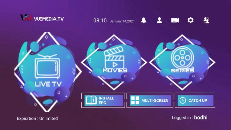 vue media iptv home screen