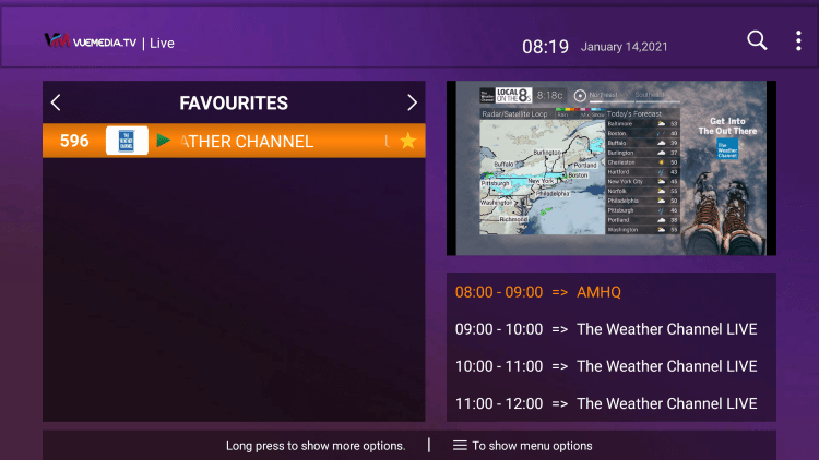 Notice your selected channel is now located within your Favorites!
