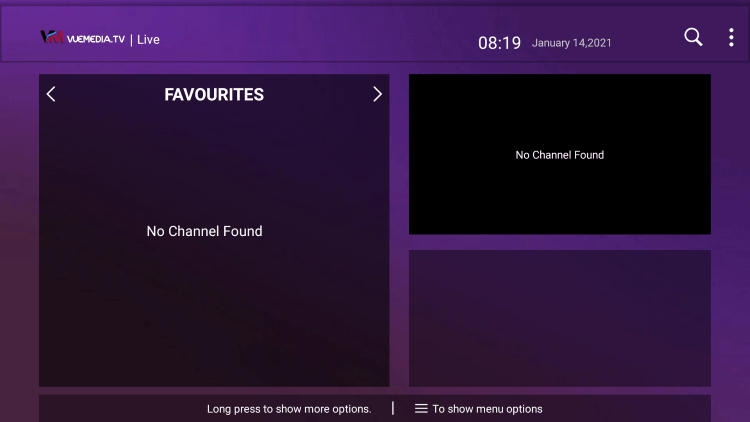That's it! You can now add/remove channels from Favorites within vue media iptv