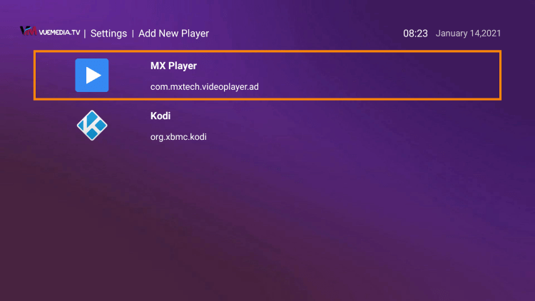 Choose whichever external player you prefer. For this instance, we chose MX Player.