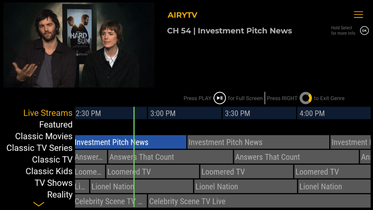Airy TV offers hundreds of live channels that are 100% free to watch on any device.
