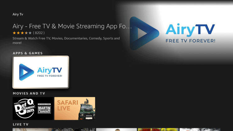 Click the option for Airy TV under Apps & Games.
