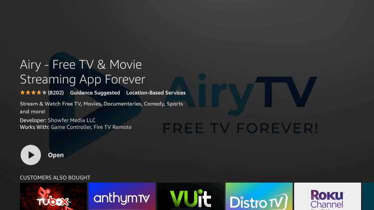 Once this app finishes downloading, click Open or hold down the Home button on your remote.