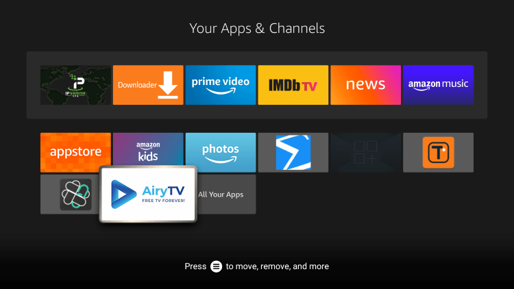 Locate and launch the IPTV app from your Apps & Channels list.