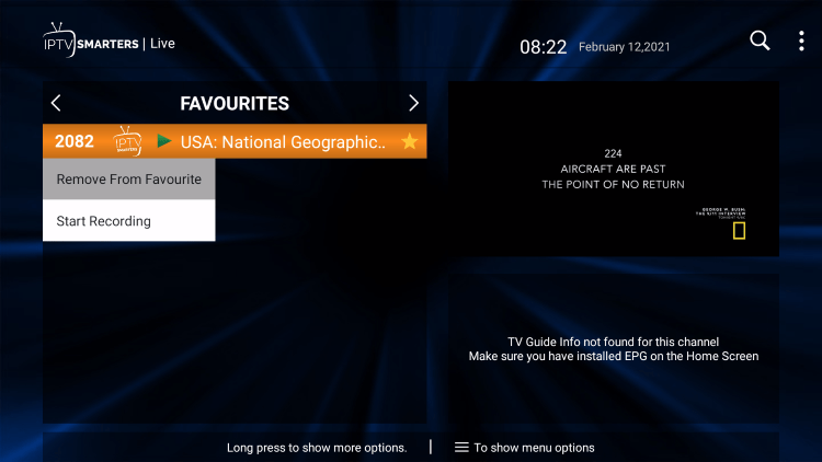 That's it! You can now add/remove channels from Favorites within area 51 iptv