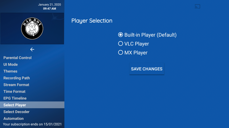 Click Select Player.