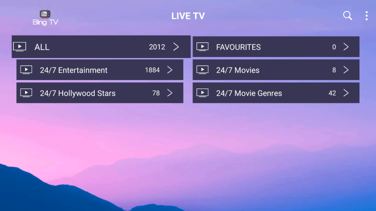 Bing TV provides over 4,000 live channels starting for $15.00 per month with their standard subscription.