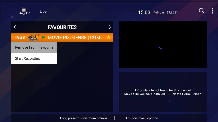 That's it! You can now add/remove channels from Favorites within the bing tv service.