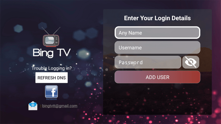 After you install the Bing TV IPTV application on your streaming device, you enter your account login information on this screen.