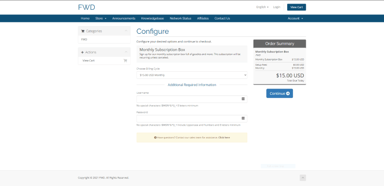 Enter a Username and Password on the Configure page and click Continue.