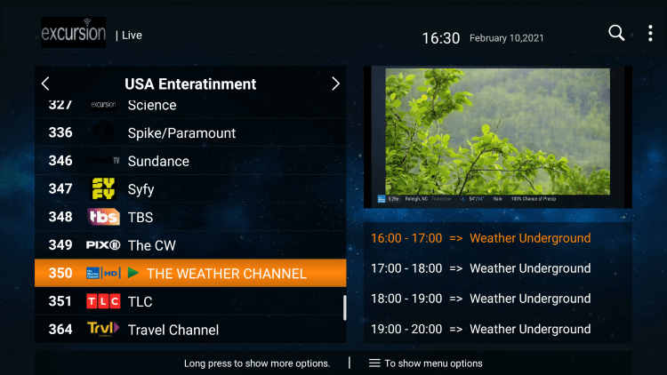One of the best features of the Excursion TV service is the ability to add channels to Favorites.