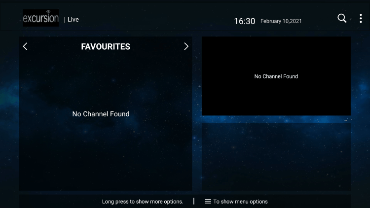 That's it! You can now add/remove channels from Favorites within excursion tv