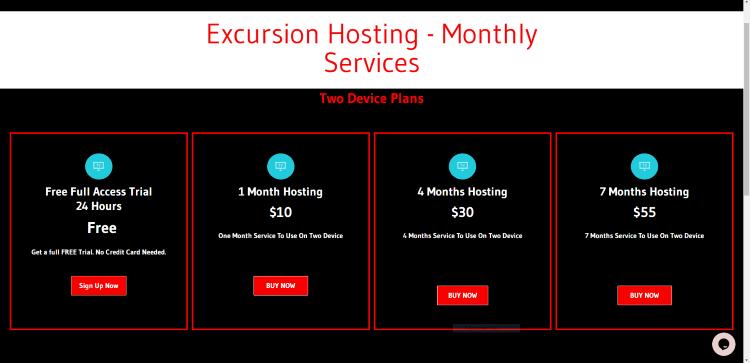 excursion tv pricing