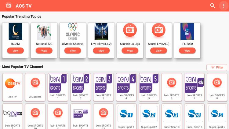 free live tv app aos tv
