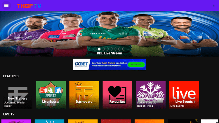 thop tv live tv apps