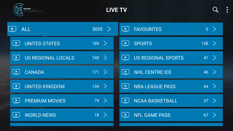 Hydrogen IPTV provides over 5,000 live channels starting for $12.50/month with their standard plan.