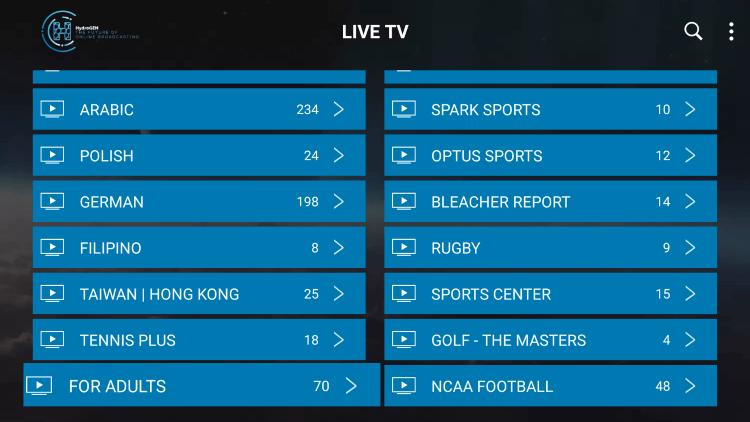 Every subscription plan comes with over 5,000 live channels and VOD options.
