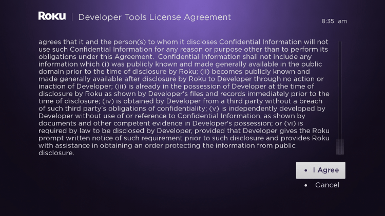 Scroll down and select I Agree to Developer Tools License Agreement for watching iptv on roku