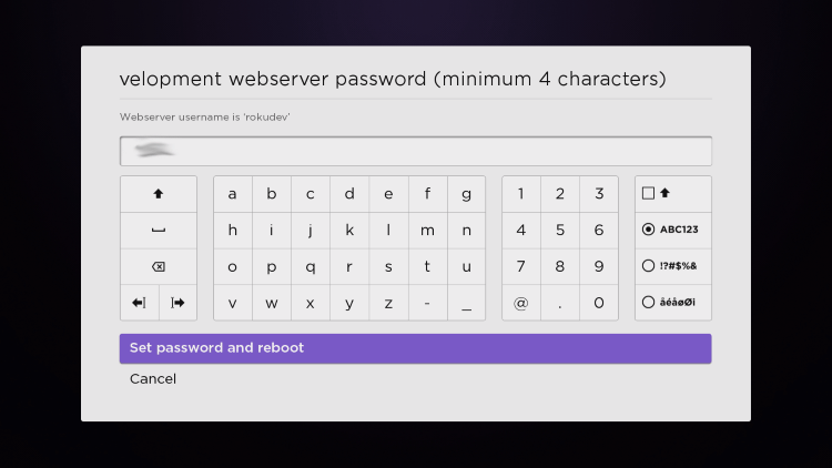 Enter a PIN Number of your choice and click Set password and reboot.