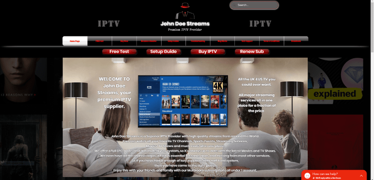 Prior to using the John Doe Streams IPTV service, you will need to register for an account on their official website.