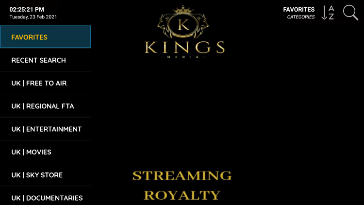 That's it! You can now add/remove channels from Favorites within kingsmedia iptv